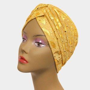 Accessories - Gold Glam Glitter Leaf Turban Hat